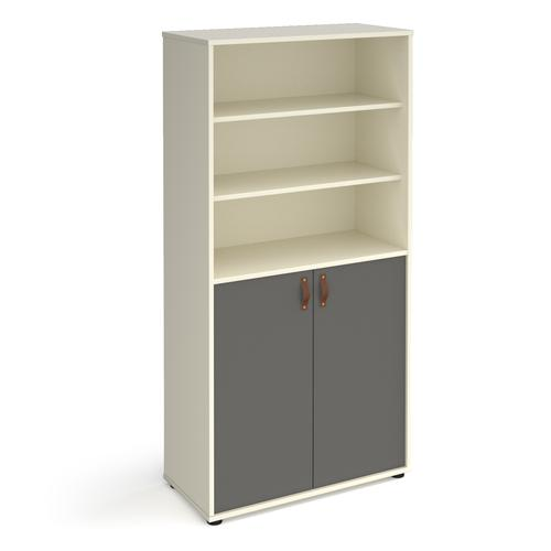 Universal combination unit with open top 1715mm high with shelves - white with grey doors