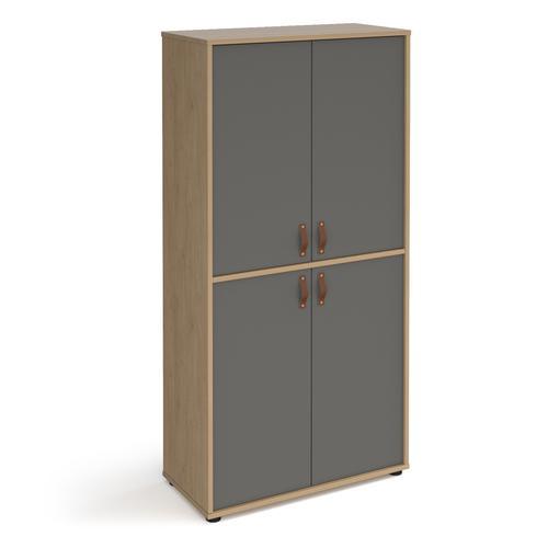 Universal double door cupboard 1715mm high with shelves - oak with grey doors