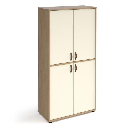 Universal double door cupboard 1715mm high with shelves - oak with white doors