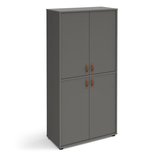 Universal double door cupboard 1715mm high with shelves - grey