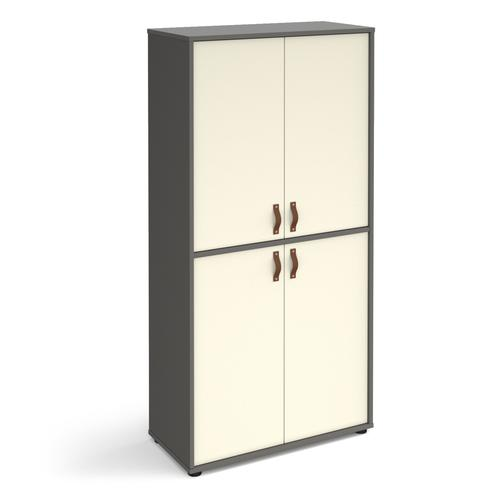 Universal double door cupboard 1715mm high with shelves - grey with white doors