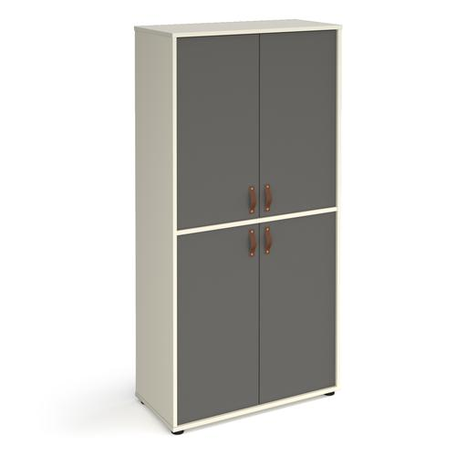Universal double door cupboard 1715mm high with shelves - white with grey doors