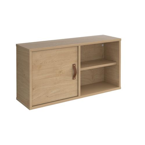 Universal box shelving unit with single door 800mm wide - oak with oak door