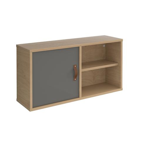 Universal box shelving unit with single door 800mm wide - oak with grey door