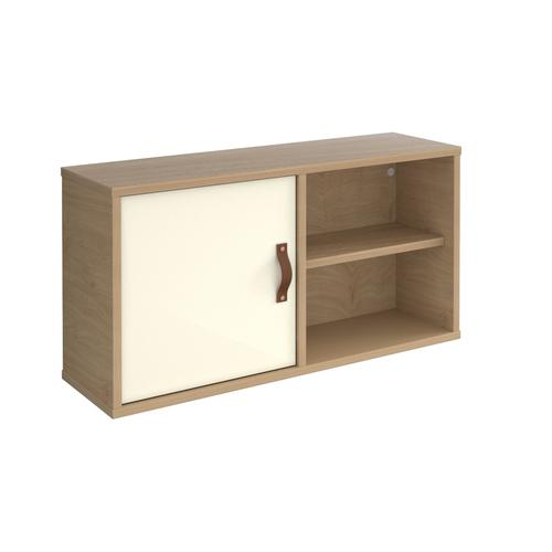 Universal box shelving unit with single door 800mm wide - oak with white door
