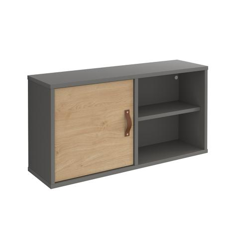 Universal box shelving unit with single door 800mm wide - grey with oak door