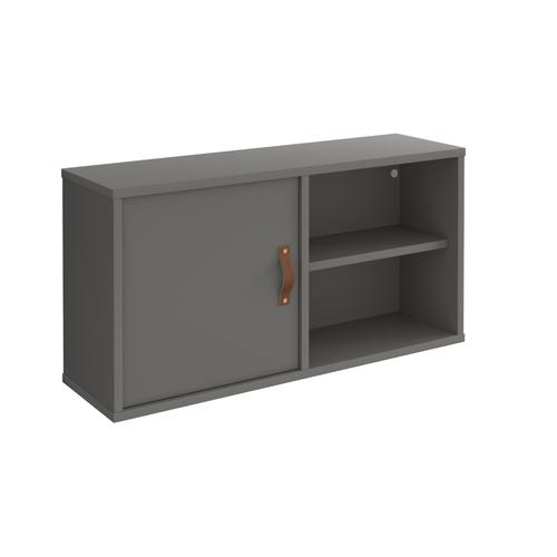 Universal box shelving unit with single door 800mm wide - grey with grey door