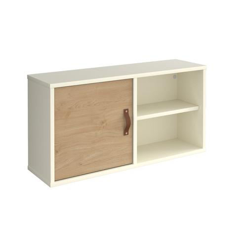 Universal box shelving unit with single door 800mm wide - white with oak door