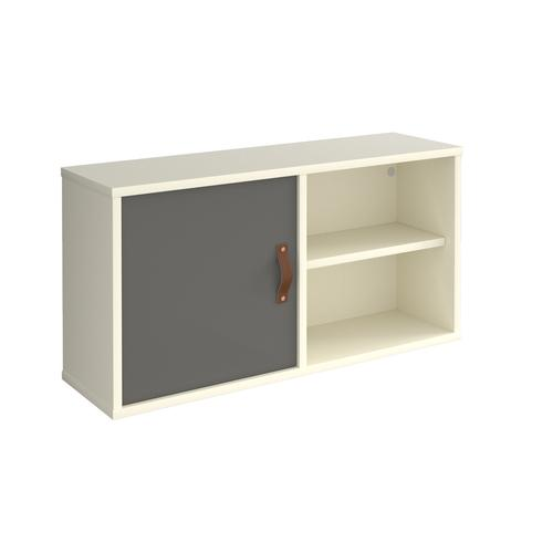 Universal box shelving unit with single door 800mm wide - white with grey door