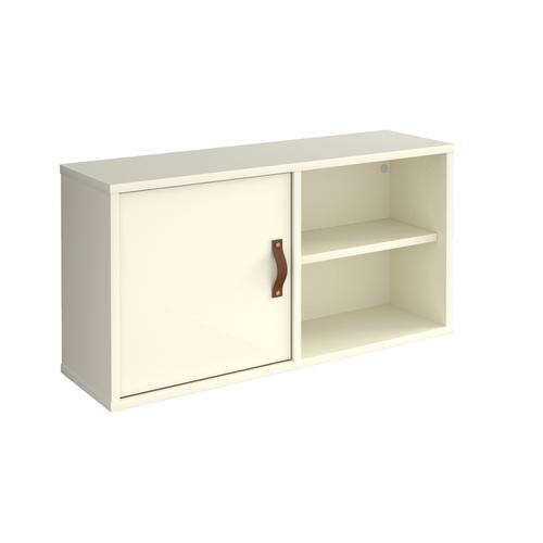 Universal box shelving unit with single door 800mm wide - white with white door Racking & Shelving UHS800-C-WH-WH