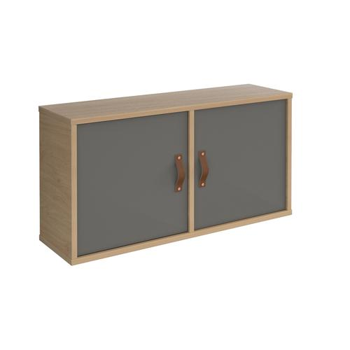 Universal box shelving unit with double doors 800mm wide - oak with grey doors