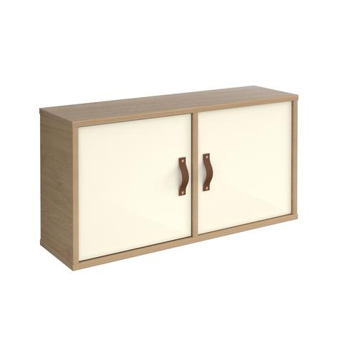 Universal box shelving unit with double doors 800mm wide - oak with white doors