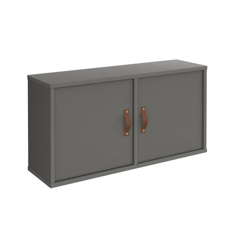 Universal box shelving unit with double doors 800mm wide - grey with grey doors