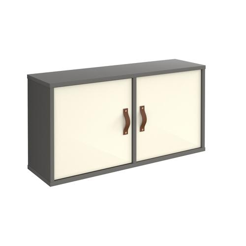 Universal box shelving unit with double doors 800mm wide - grey with white doors