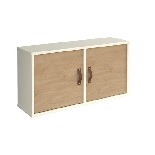 Universal box shelving unit with double doors 800mm wide - white with oak doors