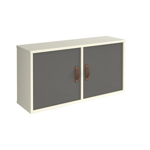 Universal box shelving unit with double doors 800mm wide - white with grey doors