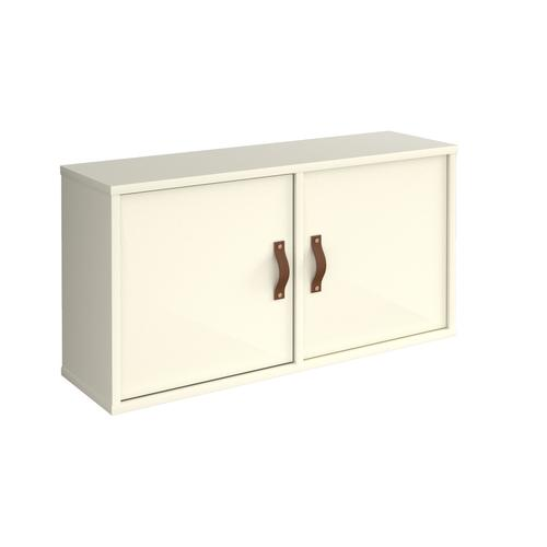 Universal box shelving unit with double doors 800mm wide - white with white doors