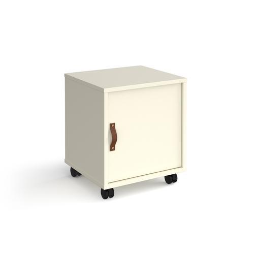 Universal mobile pedestal with cupboard door 400mm deep - white with white door