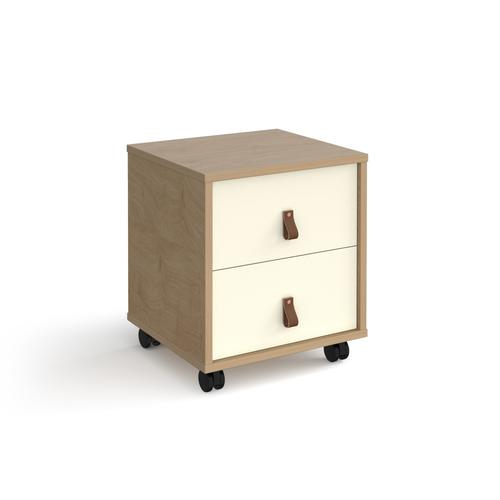 Universal mobile pedestal with drawers 400mm deep - oak with white drawers