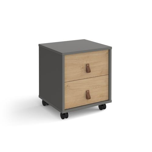 Universal mobile pedestal with drawers 400mm deep - grey with oak drawers