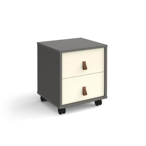 Universal mobile pedestal with drawers 400mm deep - grey with white drawers