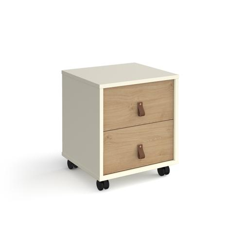 Universal mobile pedestal with drawers 400mm deep - white with oak drawers