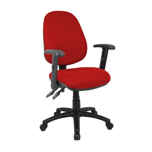 Vantage 100 2 lever PCB operators chair with adjustable arms - burgundy