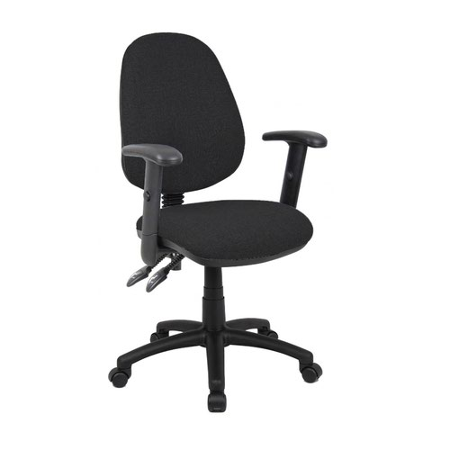 Vantage 100 2 lever PCB operators chair with adjustable arms - black | SO-V102-00-K | Dams International