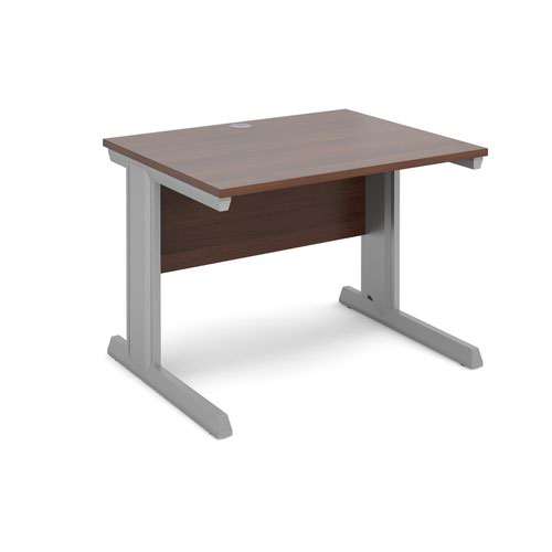 Vivo straight desk 1000mm x 800mm - silver frame and walnut top