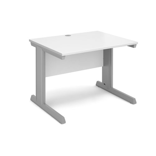 Vivo straight desk 1000mm x 800mm - silver frame and white top