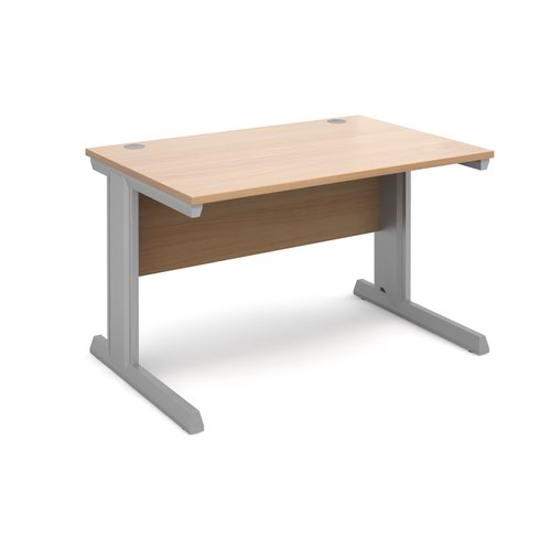 Vivo straight desk 1200mm x 800mm - silver frame and beech top
