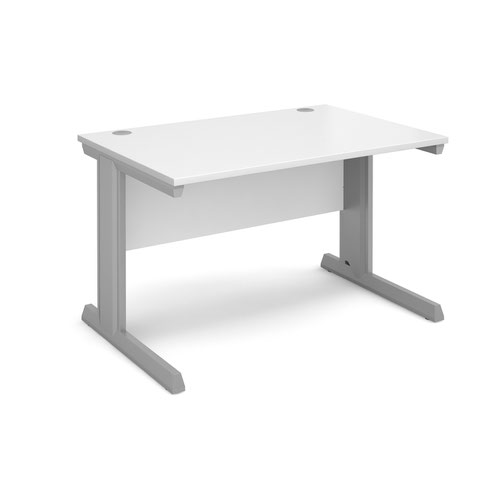 Vivo straight desk 1200mm x 800mm - silver frame and white top
