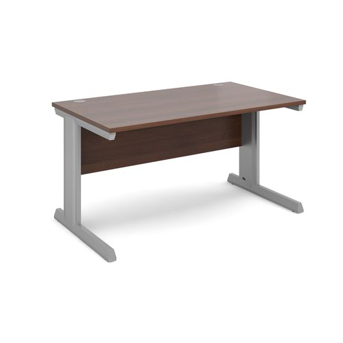 Vivo straight desk 1400mm x 800mm - silver frame and walnut top