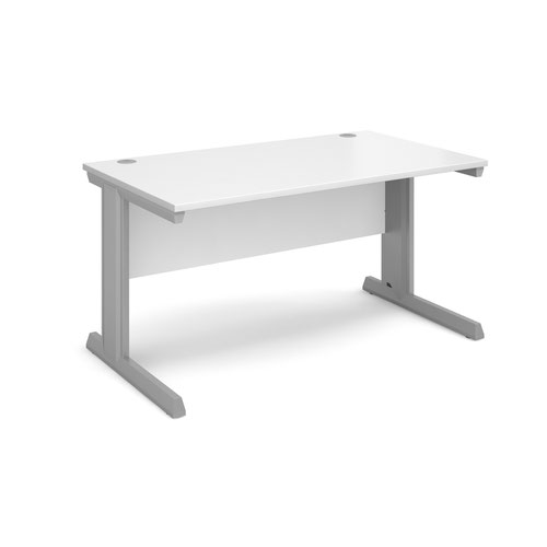 Vivo straight desk 1400mm x 800mm - silver frame and white top