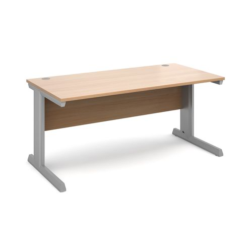 Vivo straight desk 1600mm x 800mm - silver frame and beech top