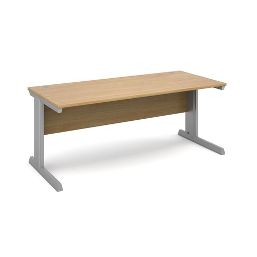 Vivo straight desk 1800mm x 800mm - silver frame and oak top