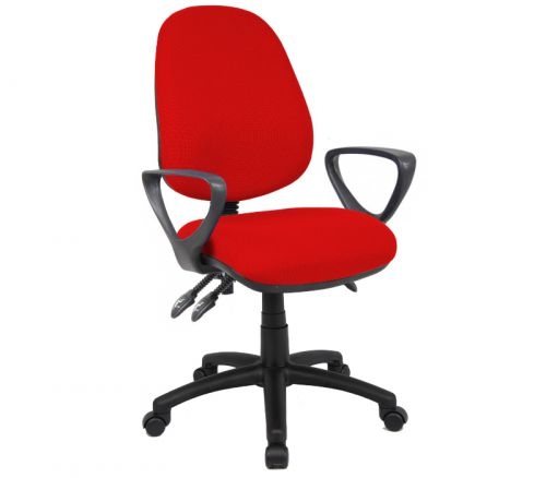 Vantage 200 3 lever asynchro operators chair with fixed arms - red