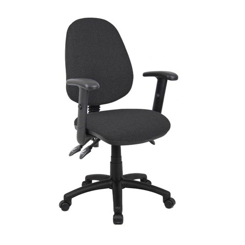 Vantage 200 3 lever asynchro operators chair with adjustable arms - charcoal
