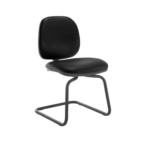Jota fabric visitors chair with no arms - Nero Black vinyl