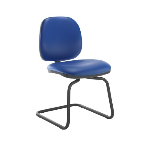 Jota fabric visitors chair with no arms - Ocean Blue vinyl