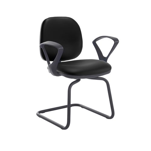 Jota fabric visitors chair with fixed arms - Nero Black vinyl