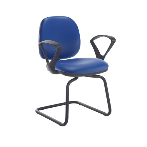 Jota fabric visitors chair with fixed arms - Ocean Blue vinyl