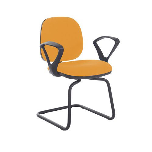 Jota fabric visitors chair with fixed arms - Solano Yellow