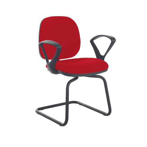 Jota fabric visitors chair with fixed arms - Panama Red
