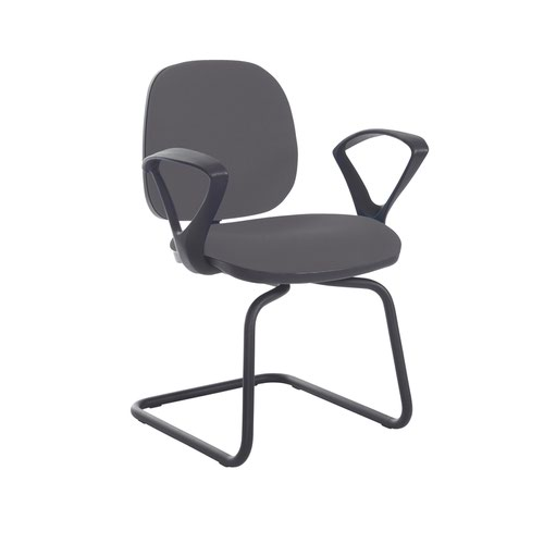 Jota fabric visitors chair with fixed arms - Blizzard Grey
