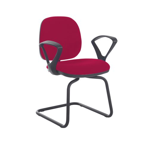 Jota fabric visitors chair with fixed arms - Diablo Pink