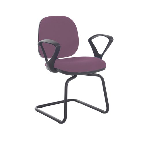 Jota fabric visitors chair with fixed arms - Bridgetown Purple