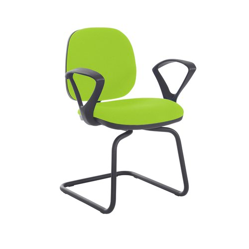 Jota fabric visitors chair with fixed arms - Madura Green