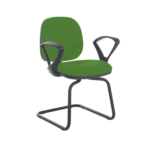 Jota fabric visitors chair with fixed arms - Lombok Green