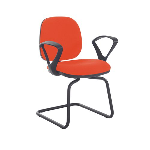 Jota fabric visitors chair with fixed arms - Tortuga Orange